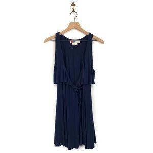 Free People Beach Mini Wrap Dress XS Navy Blue